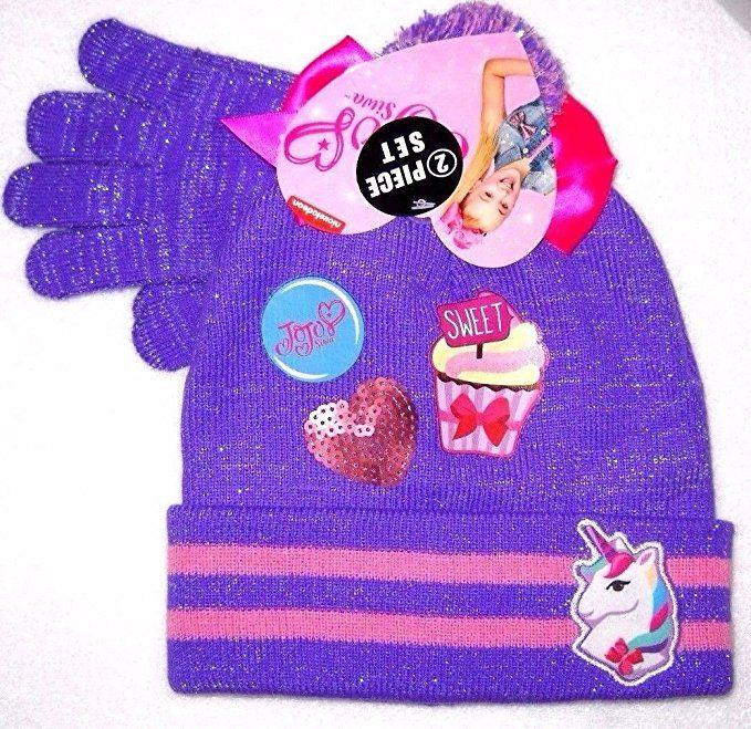 new concept 9e2af 0dacb JoJo Siwa Unicorn Purple Beanie Knit Hat Bow Gloves  Set Girls ... 36ab1f0dfc7