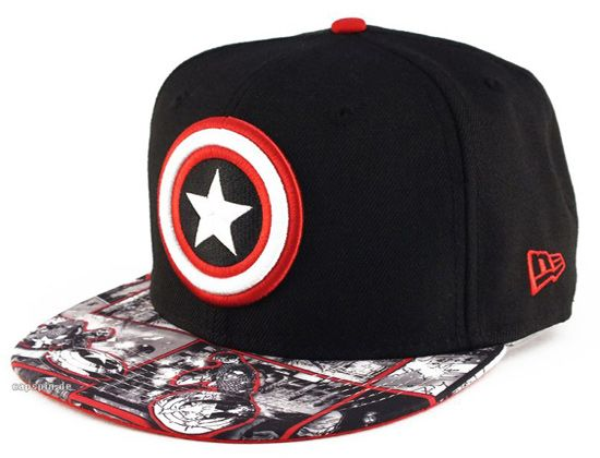 d699e642bda42 Nice Captain America New Era fitted hat with Comic strip on Visor ...