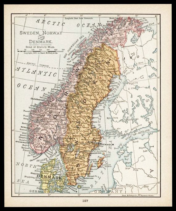 Small map of norway map of sweden map old color denmark ap small map of norway map of sweden map old color denmark ap antique wall decor print wall art nice vintage atlas map no gumiabroncs Gallery