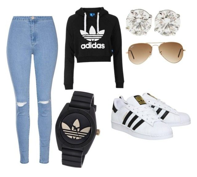 U0026quot;High wasted jeans  adidas crop top hoodie  ray bans  adidas all star  adidas watchu0026quot; by ...