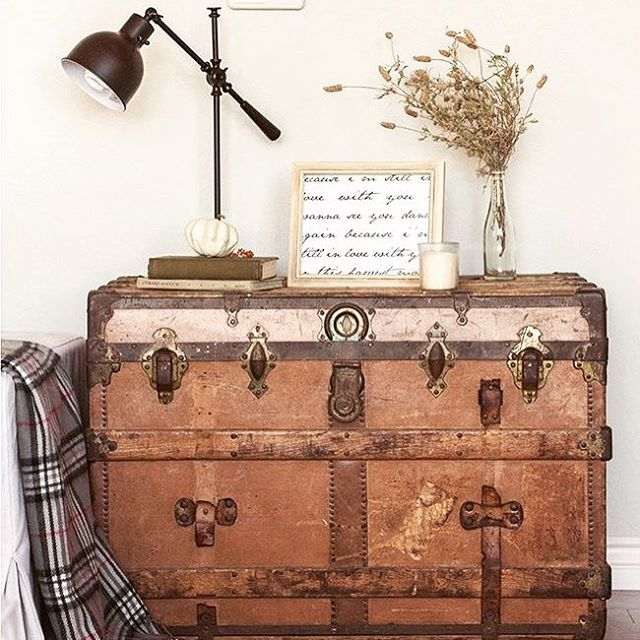 We couldn't resist...another awesome antique trunk found over on Pinterest. An incredible piece to finish off any bedroom. It's gonna be hard to store our blankets and pillows in anything else!  Check out our collection of trunks over at furnex! And remember even if we don't have something you love right now we're always getting new pieces in so stay in touch! #furniture #antique #character #vintage #bedroom #style #interiordesign #chests #trunks #home #repurposed #cozy #homedecor #furnex