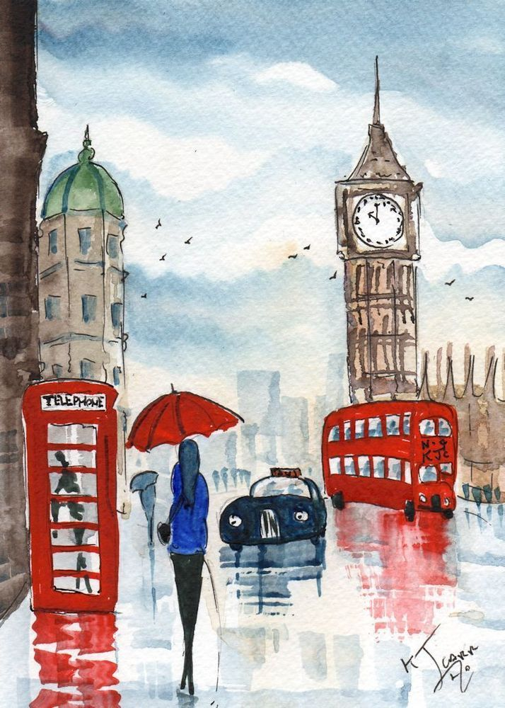 original watercolour painting signed london a rainy day by kj