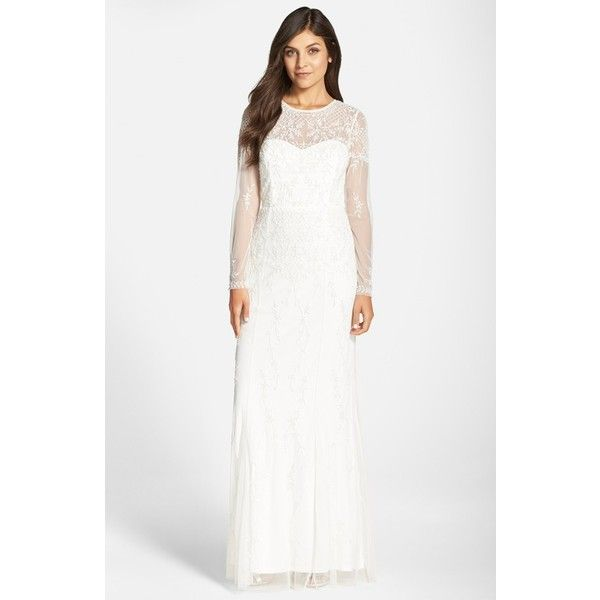 Adrianna Papell Beaded Lace Overlay Gown ($360) ❤ liked on Polyvore ...