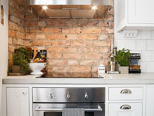 Brick wall, kitchen Home Pinterest Küche - küchenspiegel aus holz
