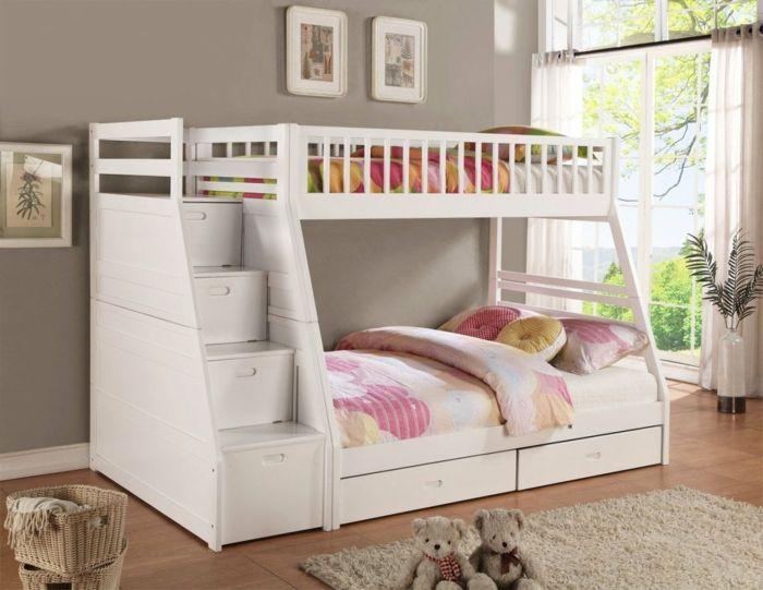 Kinderhochbett treppe  kinderbett mit stauraum weißes hochbett treppen | hochbeten ...