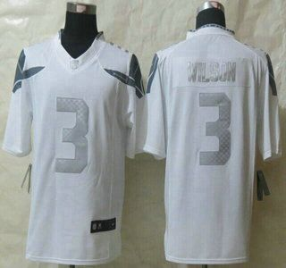 Nike Seattle Seahawks Jersey 3 Russell Wilson White Platinum ...