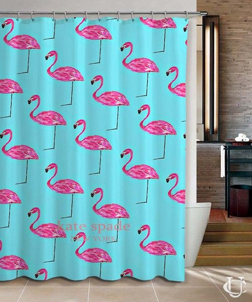 Hot Kate Spade New Pink Flamingo Blue Pink Shower Curtain