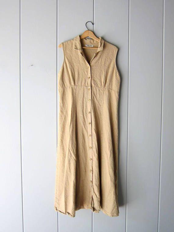 81cb3ebab0 90s LINEN Dress Long Minimal Sun Dress Button Down Modern