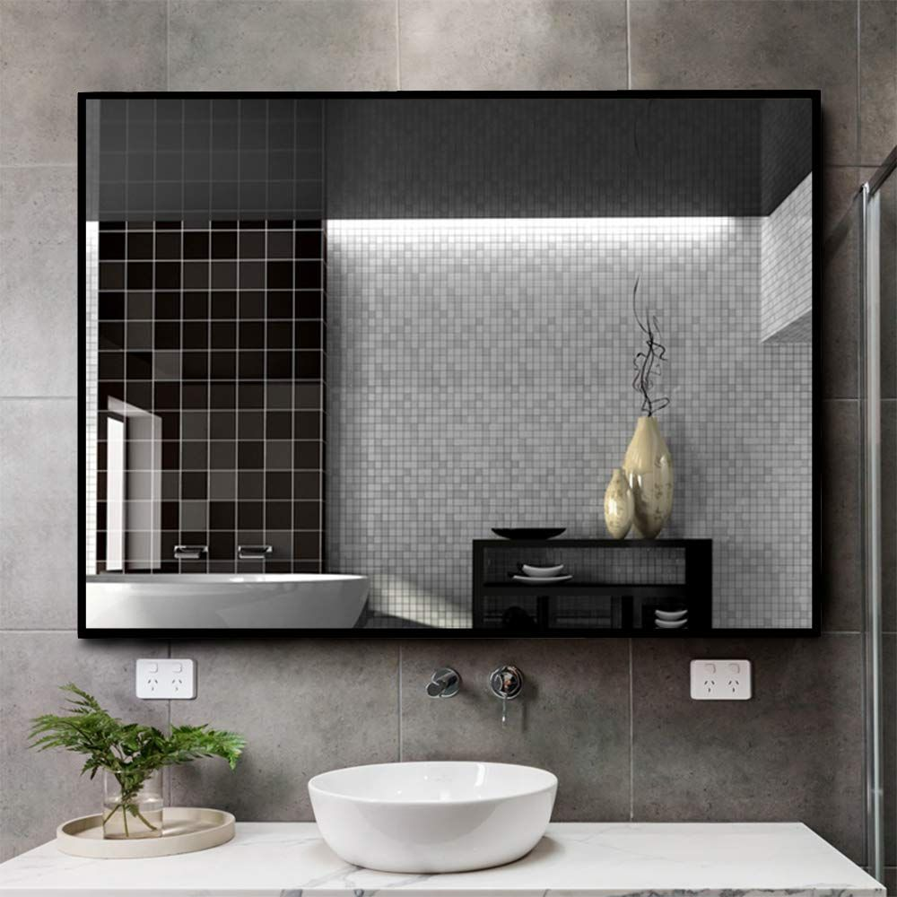 Kingmond Large Modern And Simple Bathroom Wall Mounted Black Framed Mirror Horizontal Or Vertical Hangs Black Mirror Frame Simple Bathroom Mirror Wall Bathroom