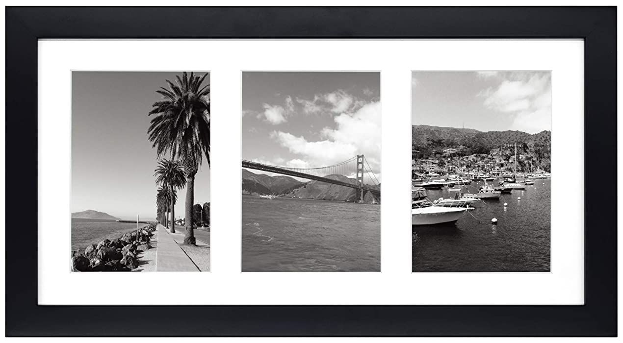 Golden State Art 9x18 Black Photo Wood Collage Frame With Mat Displays 3 5 X7 Pictures With In 2020 Mirrored Picture Frames Photo Wall Gallery Metal Picture Frames