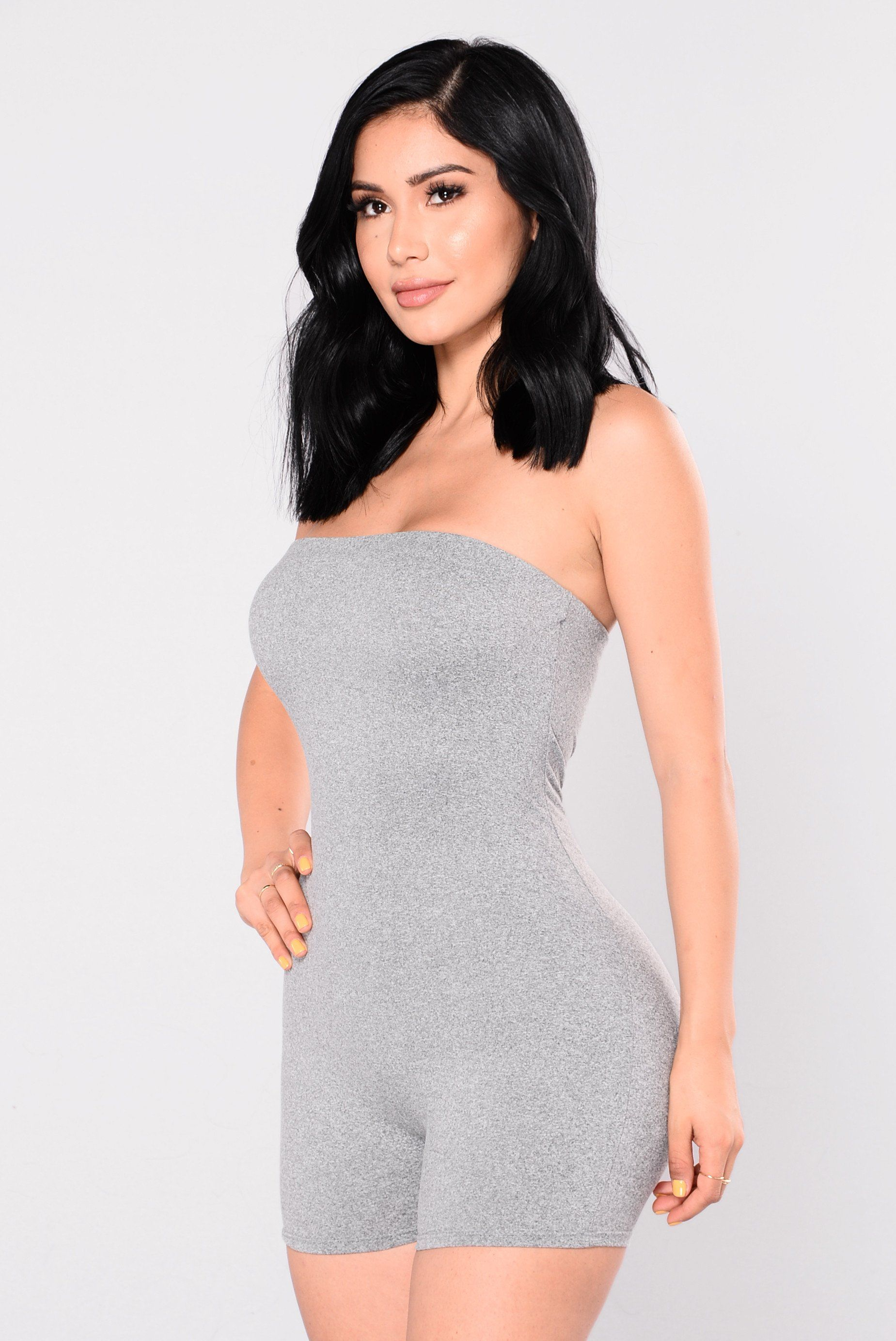 47d1c09039 Available In Grey And Black Tube Top Romper Elastic Top High Stretch 95%  Polyester