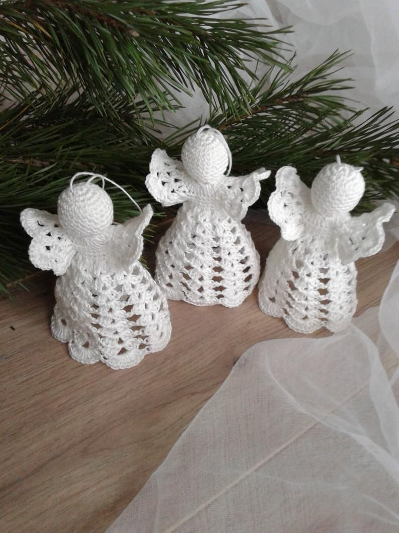 Crochet Christmas Angels Set Of 3 White Wedding Ornaments Etsy In 2021 Christmas Angels Christmas Crochet Wedding Ornament