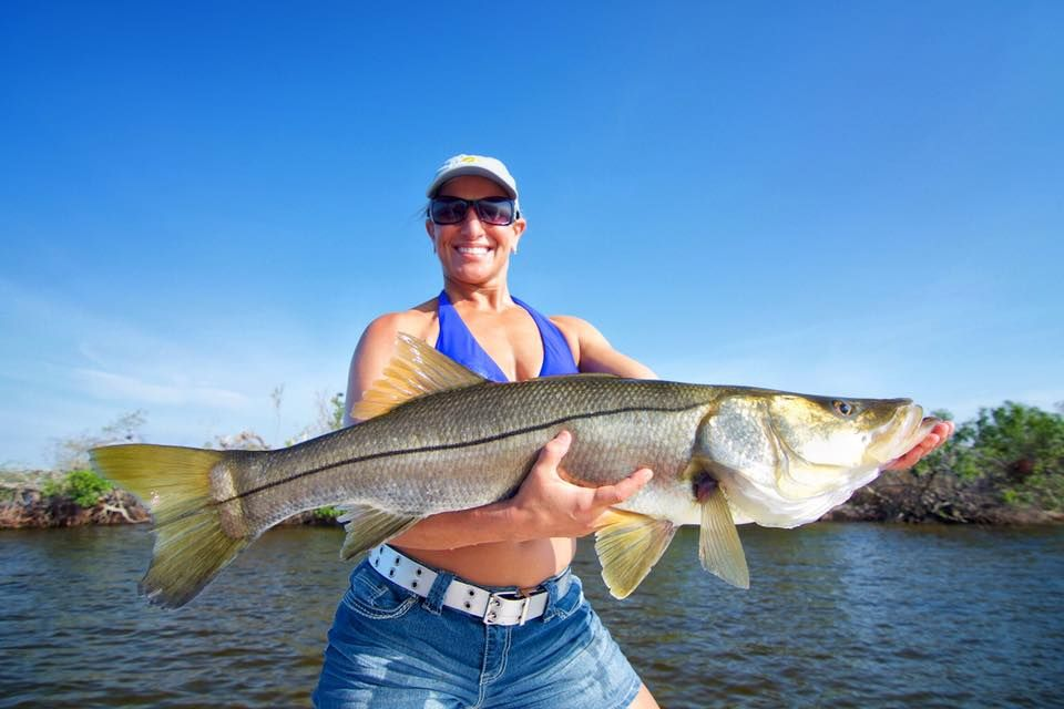 An over slot Snook caught near Sanibel Island, Florida
