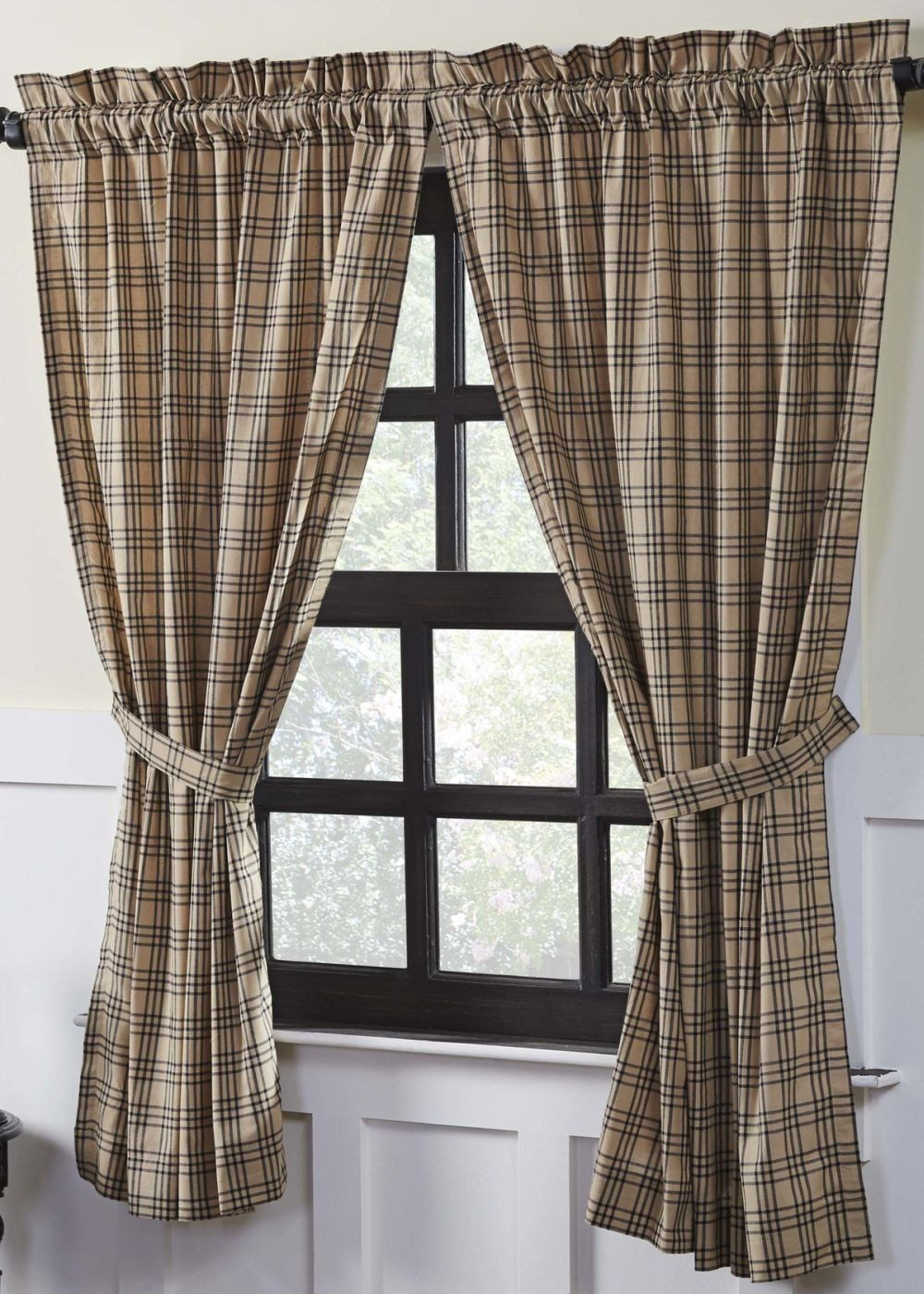 Sawyer mill curtain short panels in milling kitchen window