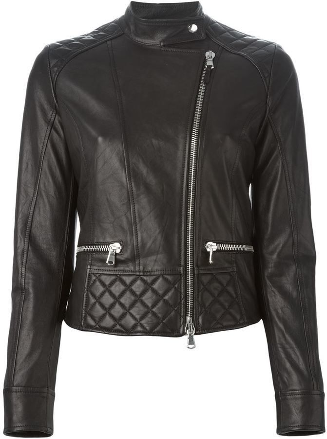$959, Eleventy Quilted Detail Biker Jacket. Sold by farfetch.com. Click for more info: https://lookastic.com/women/shop_items/342398/redirect