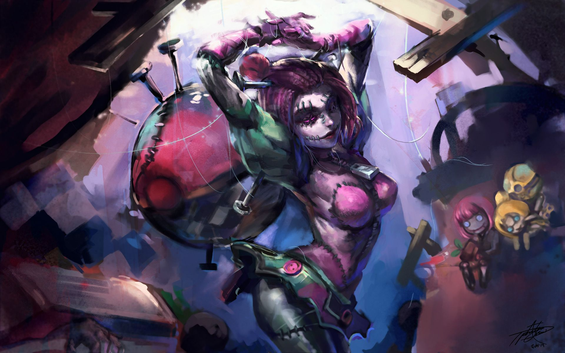 Download Wallpaper Fanart Sewn Chaos Orianna Skin Full Hd On