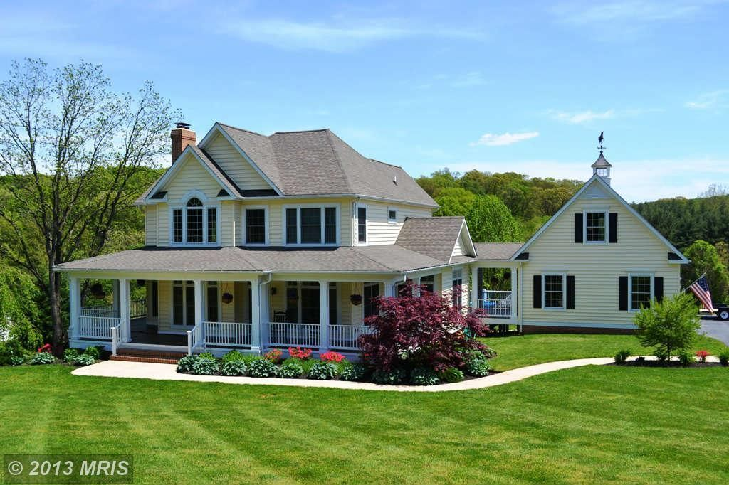 Colonial Home With Wrap Around Porch And Separate Garage Google Search Colonial House Beautiful Homes House Elevation