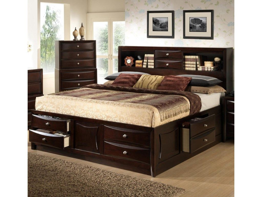 Bookcase Headboard King in 2020 Wood bedroom sets