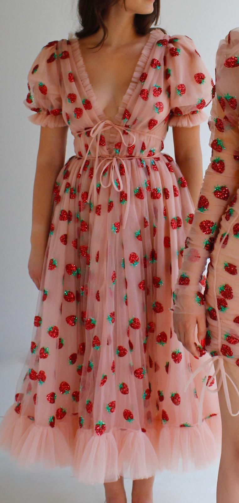 Strawberry Midi Dress In 2021 Tulle Midi Dress Dresses Cute Prom Dresses [ 1600 x 761 Pixel ]