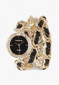 bebe Rhinestone Woven Chain Wrap Watch