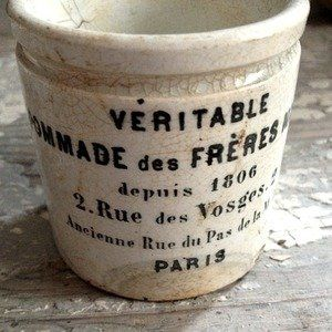 Antique Pommade Crock-Paris FleaingFrance Brocante Society