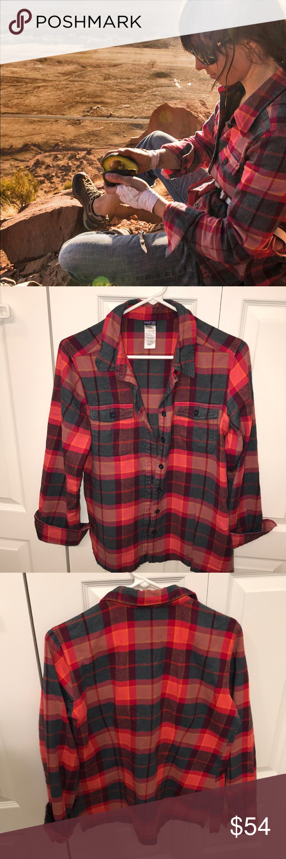 Flannel jacket with fur inside  Patagonia Fjord Flannel Shirt Red Blue Sz  med  Fit pit