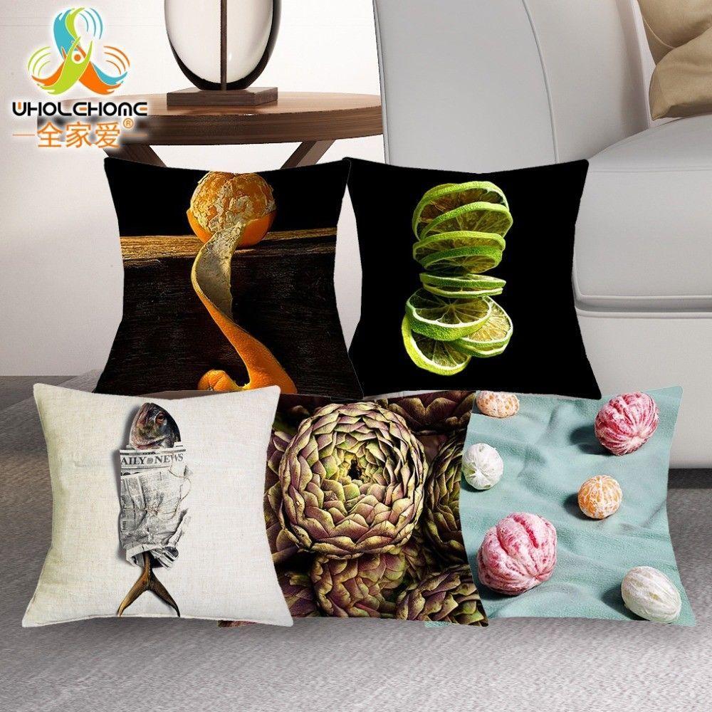 Pillow cushion throw cover case fruit colorful home decor linen sofa