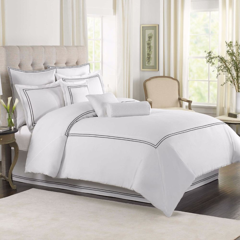 3 Piece Cotton Striped Duvet Cover Set Queen Hotel Quality