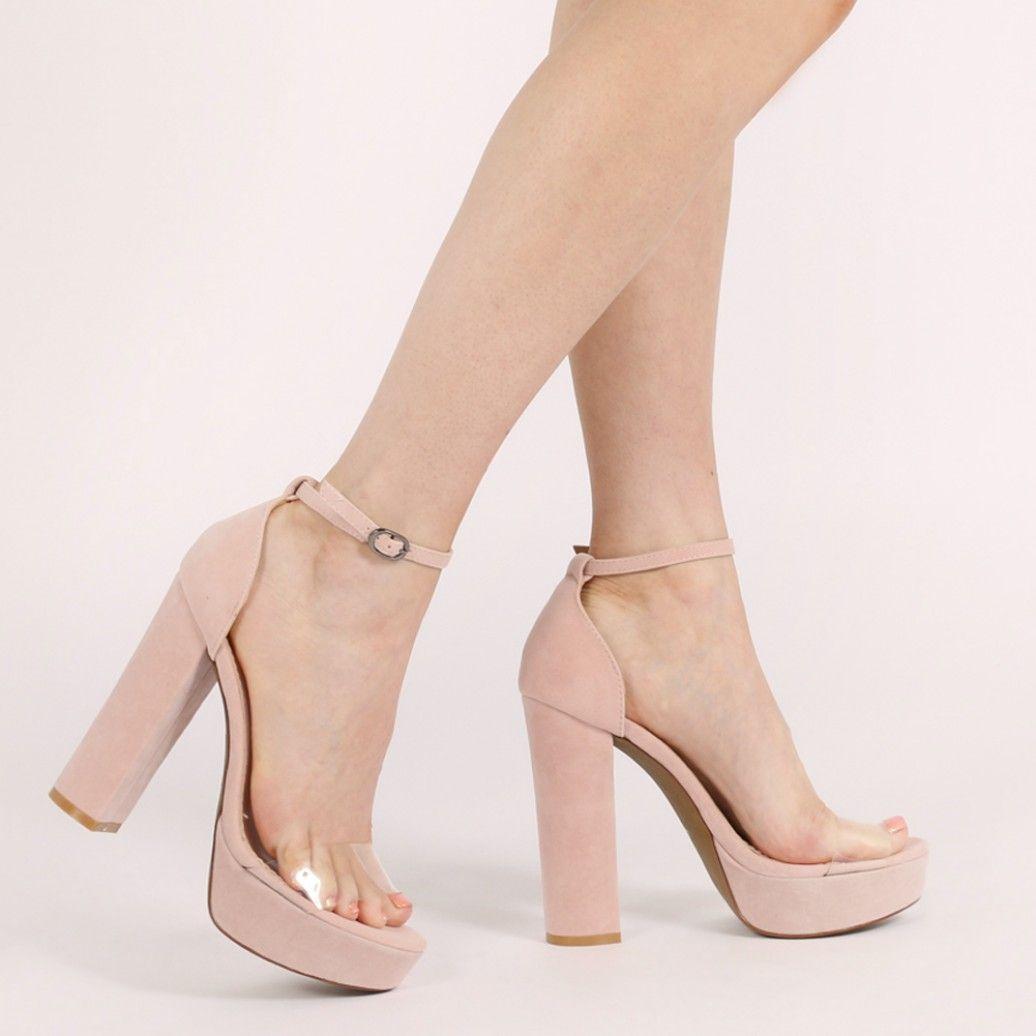 08b3cc30bad4 Calla Perspex Strap Platform High Heels in Nude