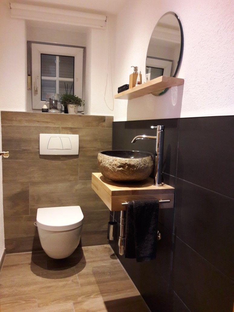 Renovierung Gaste Wc Fliessen Holzoptik Und Anthrazit Naturstein