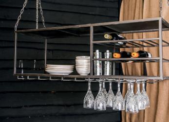 Wijnrek Fedok - zwart - hangend keuken - incl glazenhouder- PTMD -