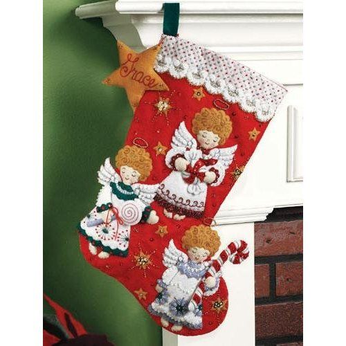 candy angels christmas stockings by bucilla