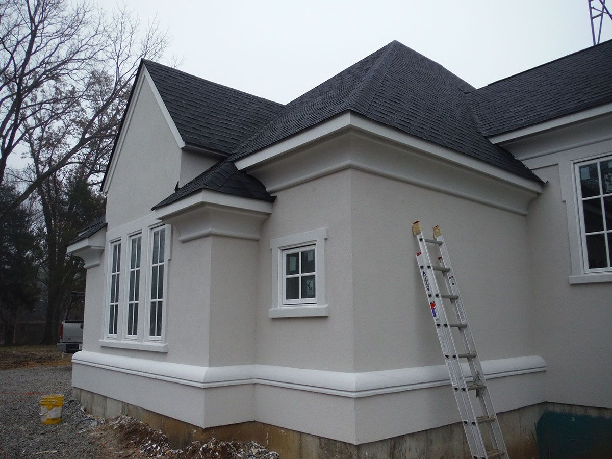 This Project Features James Hardie Trim Arctic White Stucco Homes Stucco House Colors Exterior House Paint Color Combinations