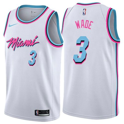 ece511b1e9b Nike Heat  3 Dwyane Wade White NBA Swingman City Edition Jersey ...