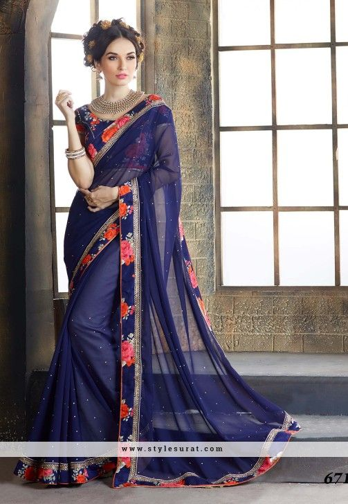 5a2f14d613c38b Blue Color Georgette Lace Border Work Party Wear Saree | Sarees ...