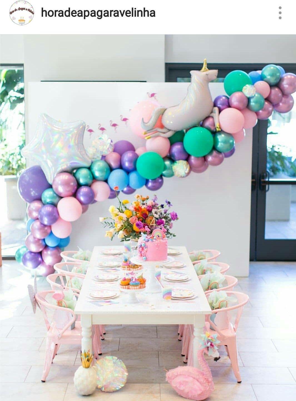 Unicorn Theme Birthday Party Table Setting And Decor