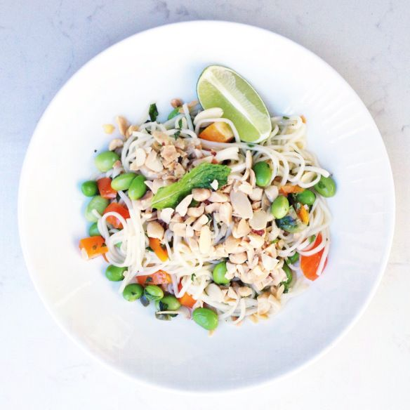 Edemame Noodle Salad - tangy and sweet with a little heat! Perfect summer meal!