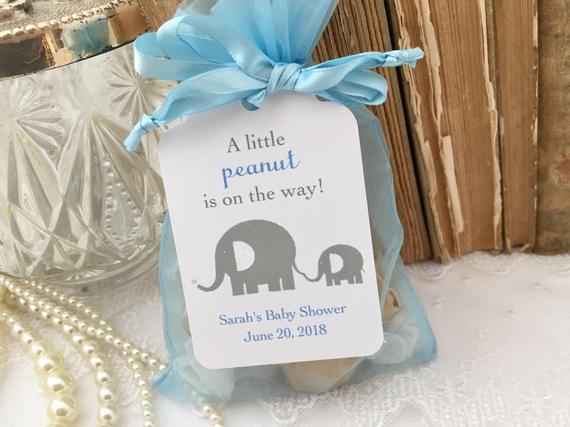 Baby Shower Favor Set Organza Bags and Personalized Tags Blue Boy Footprints Set of 10