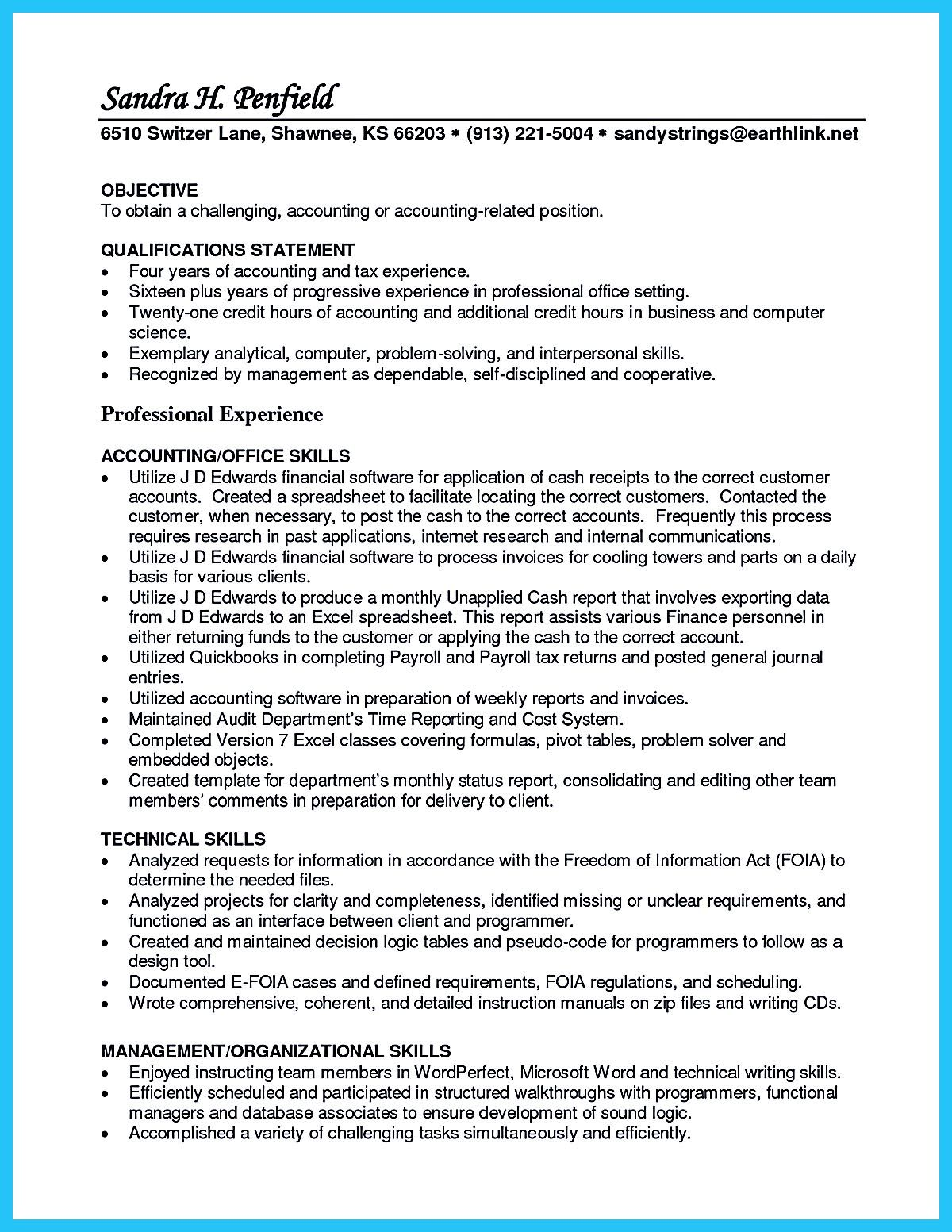 Resume Experience Example Accounts Receivable Resume Presents Both Skills And Also The