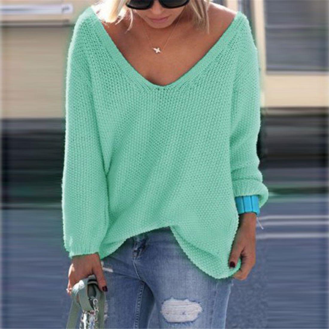 V-neck Loose Knit Pure Color Pullover Sweater | Azul esverdeado ...