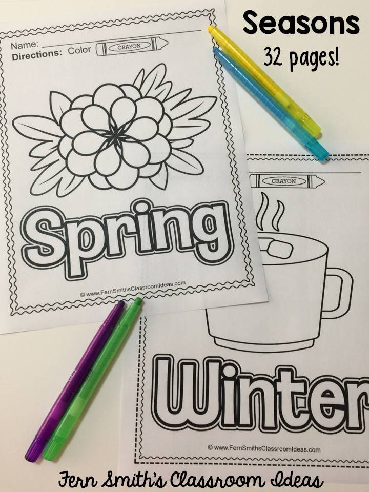 Your Students Will Adore These 32 Pages Of Seasonal Fun Coloring Pages Each Season Spring Fern Smith S Classroom Ideas Creative Writing Lesson Spring Lessons