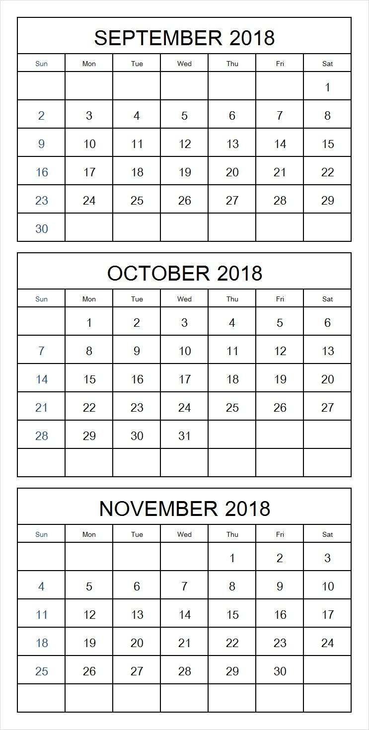 Print Blank September October November 2018 Calendar Template