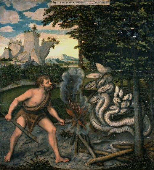 Hercules and the Hydra (after 1537) by Lucas Cranach (1472-1553). The second of…