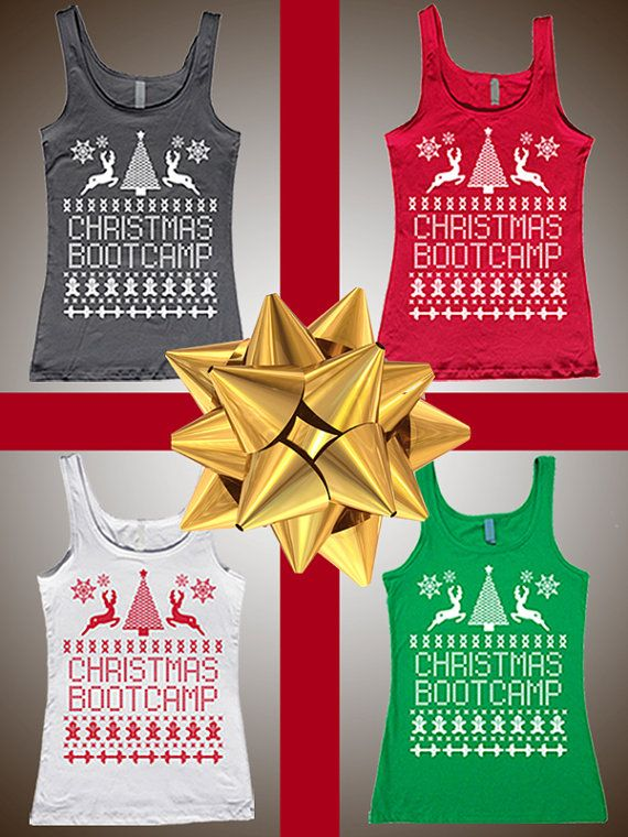 Ugly Christmas Sweater Workout Tanks by Enlightened State Apparel | Fitted Fine Jersey Tanks ...