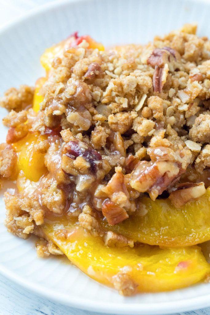 Peach Crisp with a Brown Sugar, Oatmeal, Pecan Crumble   Foodtasia