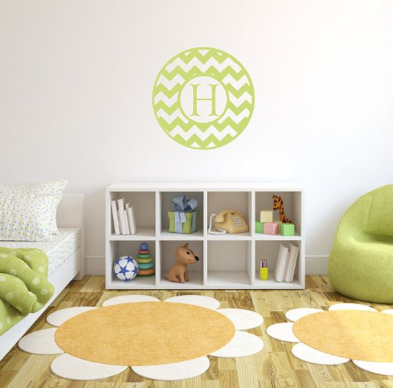 Chevron Wall Decal Personalized Name Vinyl Wall Decal Boy Girl Baby Nursery  Name Decal Bedroom Wall