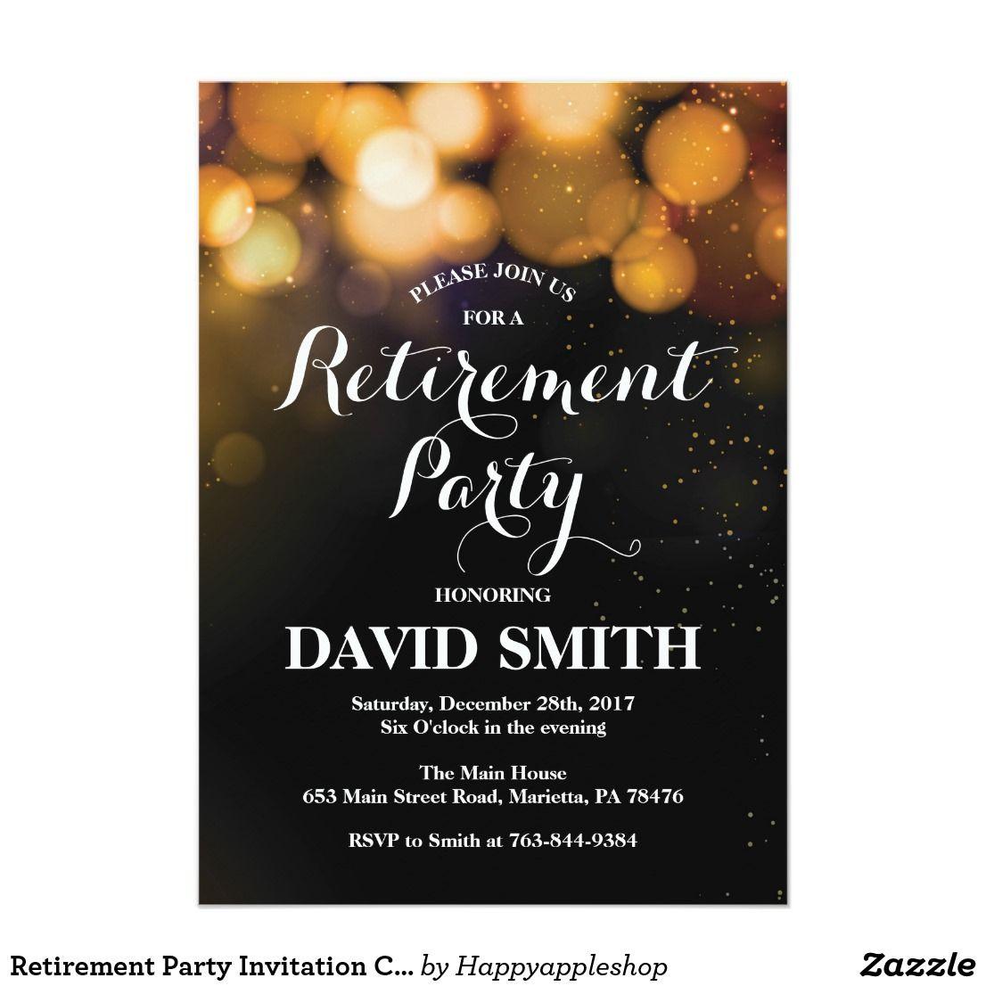 retirement party invitation card gold glitter  zazzle