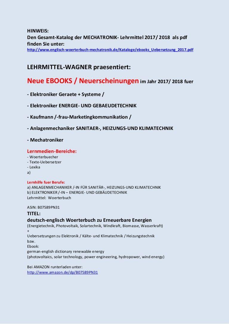 Hinweis Den Gesamt Katalog Der Mechatronik Lehrm Ebook Angebote