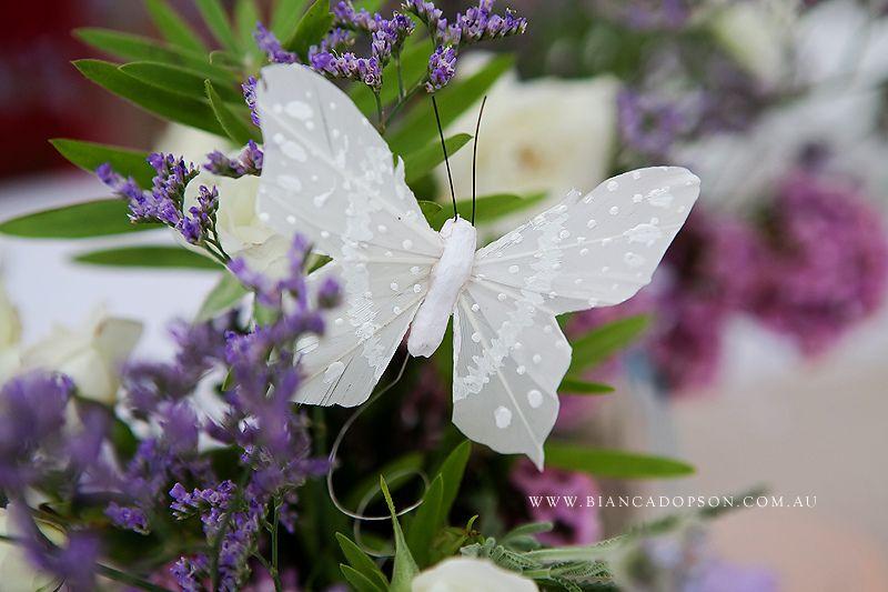 Silver butterflies and purple flowers