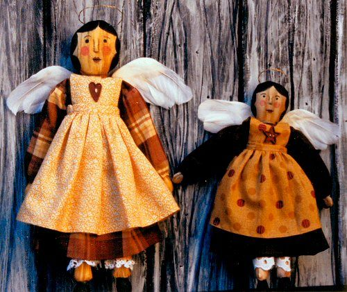 wood folk art angel dolls